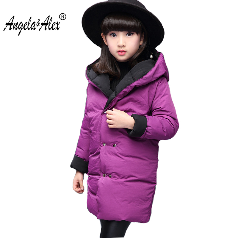 Angela & Alex Winter Jacket Girls New Fashion Long Parka Children Winter Reversible Cotton Padded Parka Hooded Teenager Outwear alex evenings new black jacket msrp $ 179