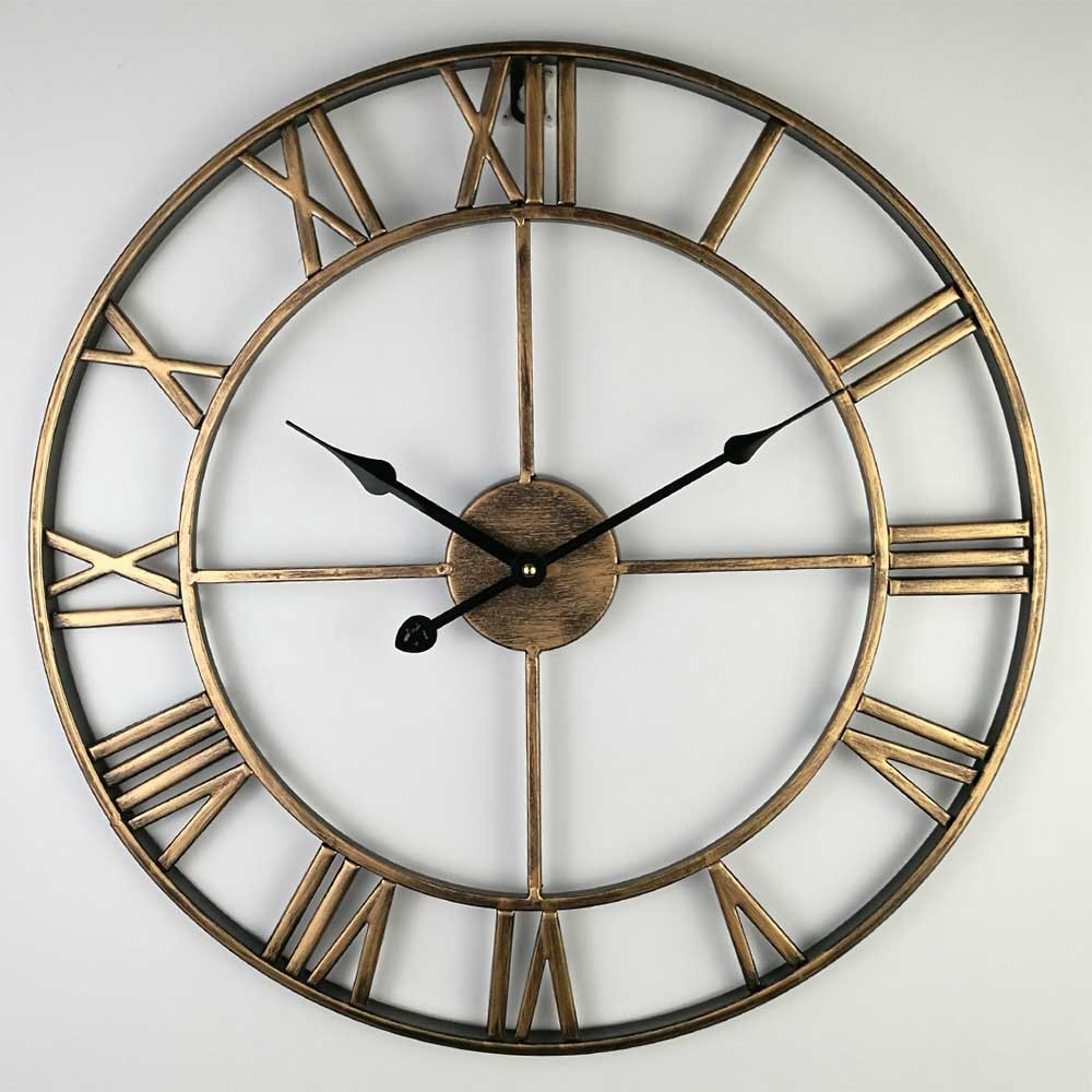 14 Inch Nordic Retro Roman Digital Big Wall Clock Living Room Decorative Rose Gold Clock Coffee Shop Metal Clock