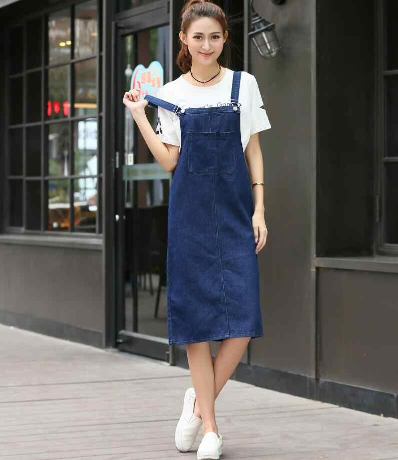 Denim sundress 2018 High Waist jeans Dress Women spring Summer casual  Dresses vestidos s1684 0f760d586775