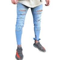 Skinny Denim Jeans Men Stretch Slim Fit Distressed Destroyed Ripped Mens Jeans Streetwear Hip Hop Hole Pants Jogger Biker Moto