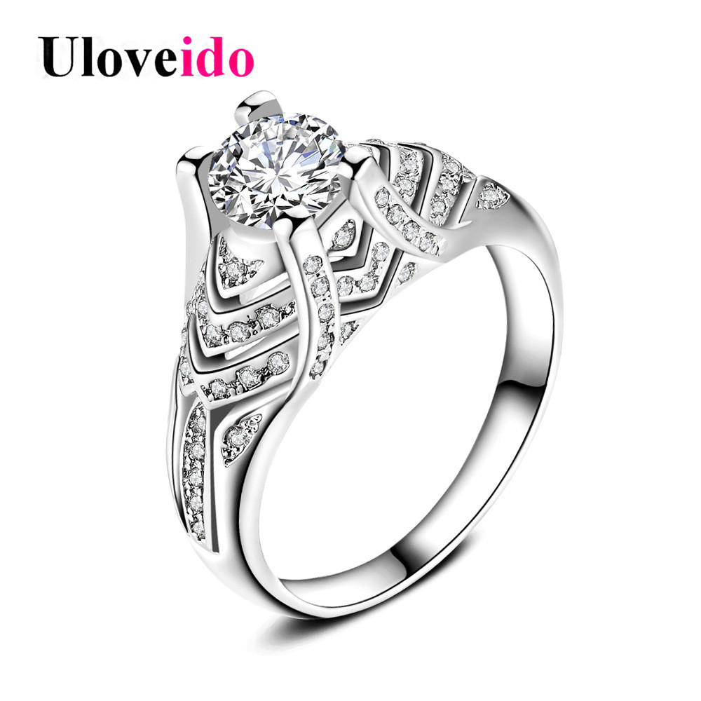 Uloveido Engagement Rings for Women Silver Color Wedding Ring Female Bague Femme Bijoux Anel Feminino Bagues Femme 5% Off HR271