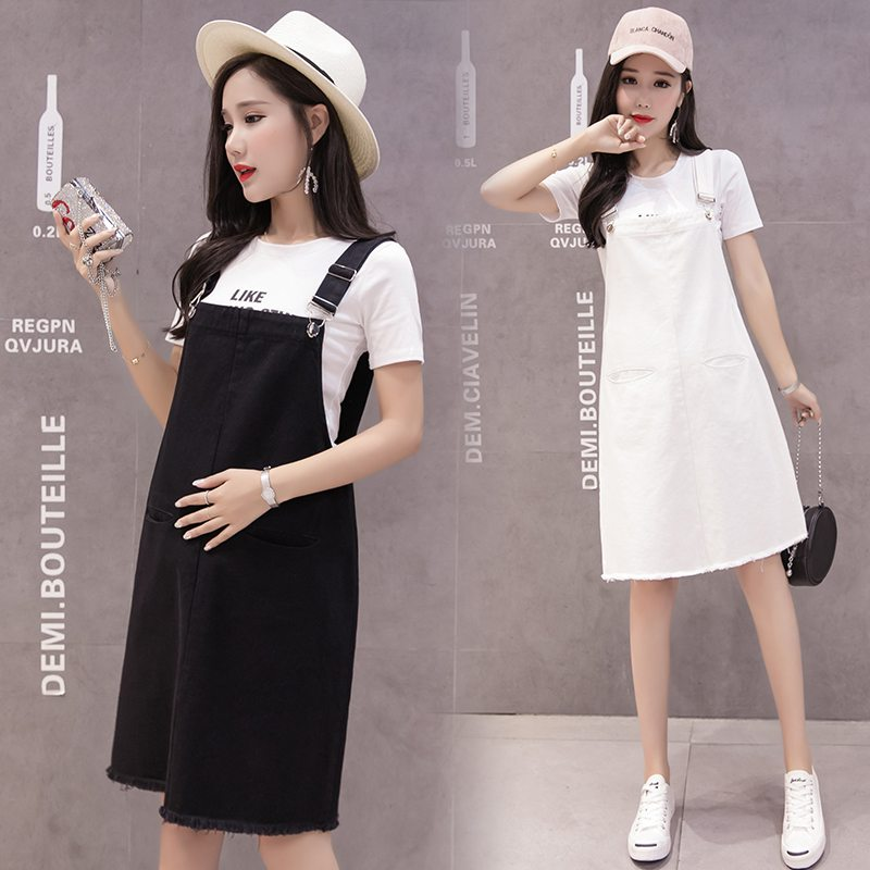 купить Pregnant women summer dress denim skirt maternity dress pregnant women strap cowboy Korean pregnant women cowboy dress по цене 1630.58 рублей