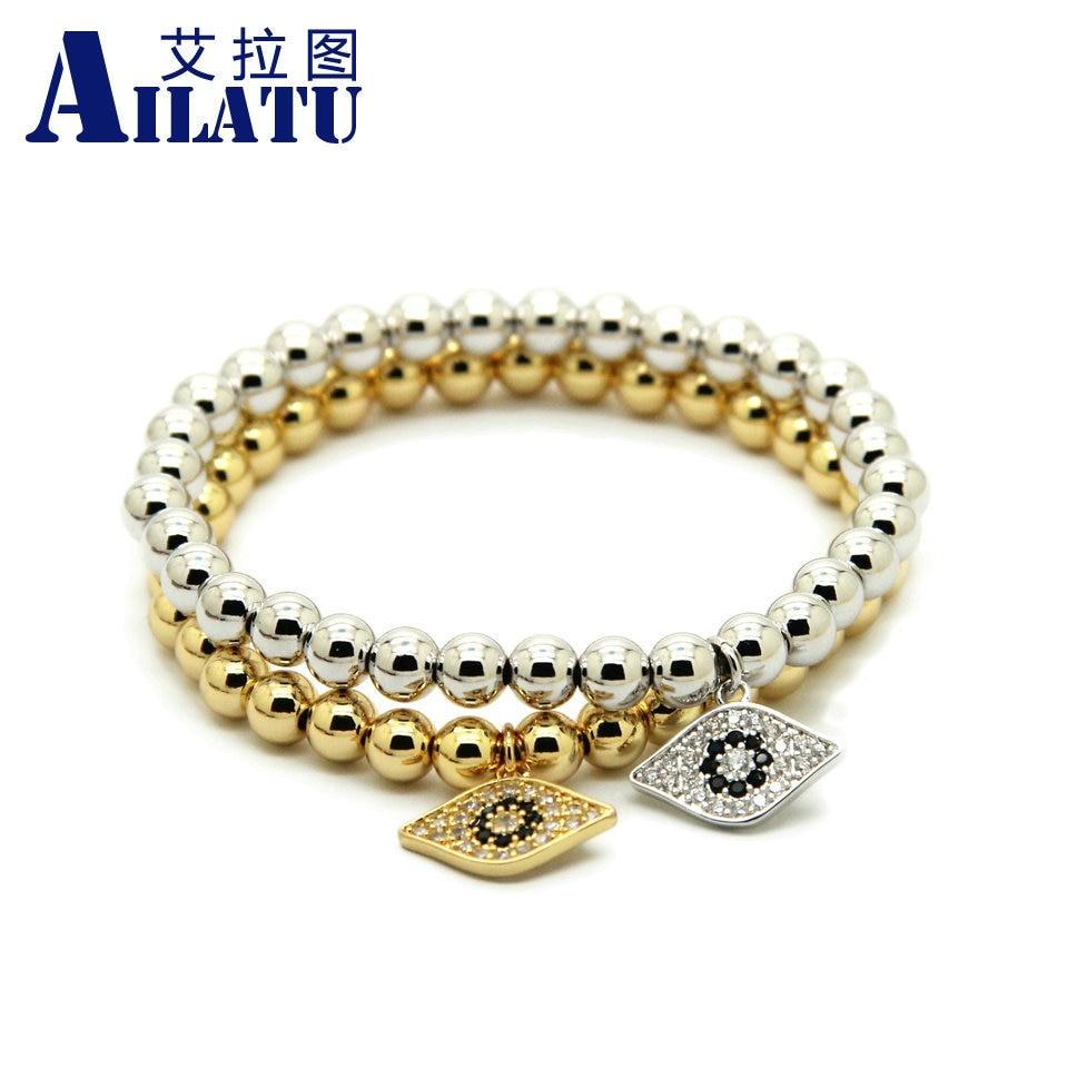 Ailatu 10pcs lot High Grade Jewelry 6mm Color Keeping Bronze Beads Micro inlay zircon Eye Cz