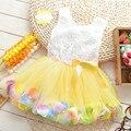2016 novo verão de algodão do bebê conto de fadas esteticismo pétalas coloridas dress chiffon princesa vestidos de bebê recém-nascido