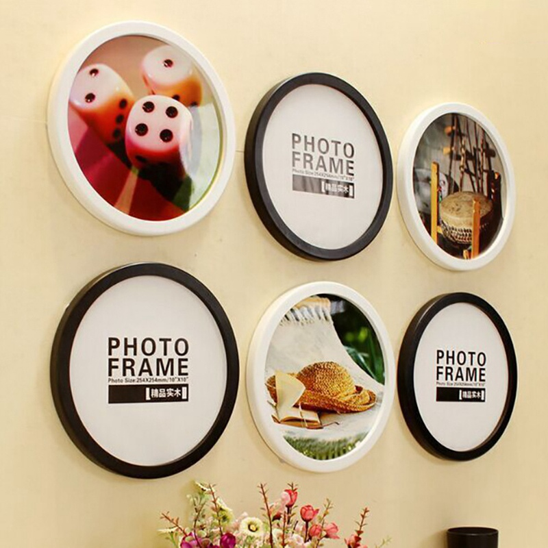 Round Photo Frame DIY Wooden Photo Frames Hanging Wall Mounted Picture Frames Holder Living Room Home Decoration Creative Gifts