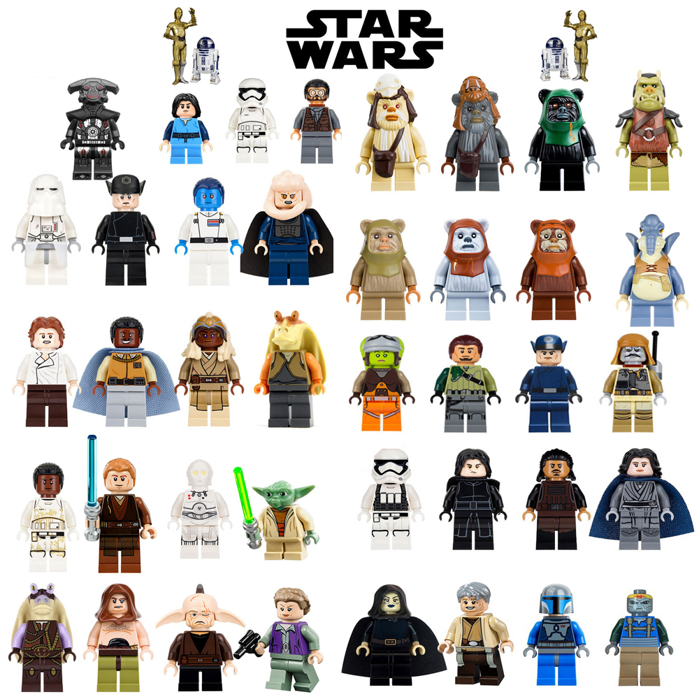 цена Single Sale jedi Star Wars Luke Leia Han Solo Anakin Darth Vader Yoda Jar Jar Model Building Blocks Toys starwars figures Bricks