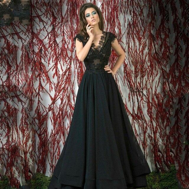 Moda Preto V Neck Manga Curta Sheer Corpete Saia Em Camadas Vestidos de Noite Longos