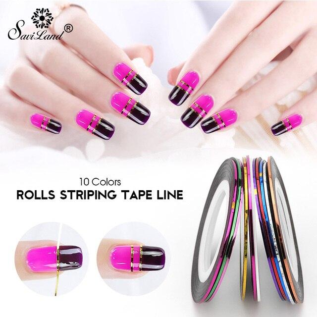 Saviland Beliebte 10 PCS Mix Farben Rollen Nagel Striping-klebeband-linie für Nägel Dekorationen UV Gel Acryl Nagel Tipps Wählen farben