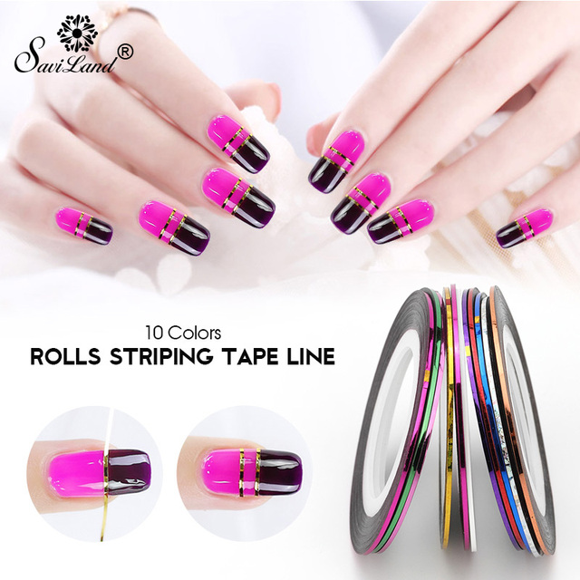 Saviland Popular 10 PCS Mix Colors Rolls Nail Striping Tape Line for Nails Decorations UV Gel Acrylic Nail Tips Choose Colors