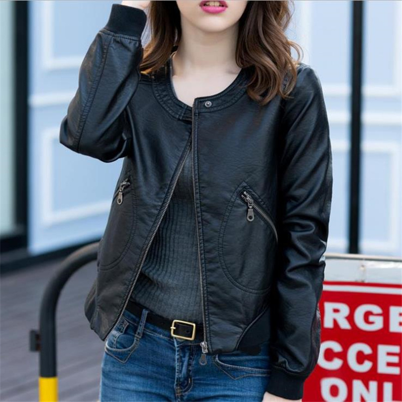 New Fashion Pu Biker For Women O-neck Zipper Casual Women Loose Oversized Leather Jacket Veste Women Autumn Coat Leather Jackets
