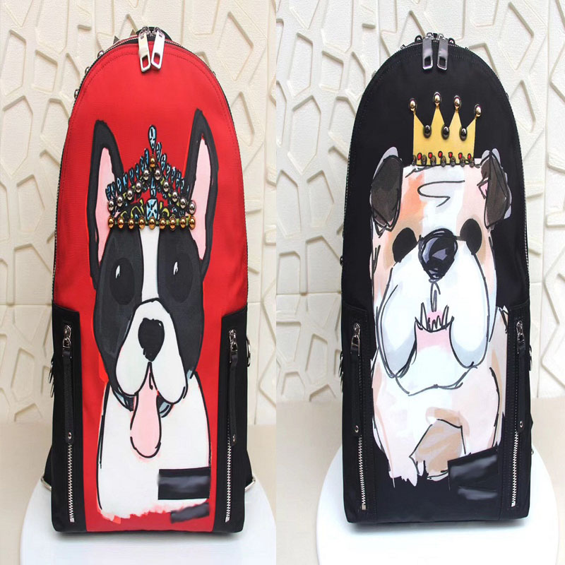 Brand Designer Crown Beaded Printed Dog Head 19 New Rivets Canvas Backpack Black Red Men and women couples high quality backpack