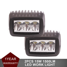 2pcs 15W 3″ LED Work Light 12V 24V Car Auto Motorcycle Truck SUV Bicycle ATV 4WD AWD UTE Truck Headlight Fog Lamp Driving DRL