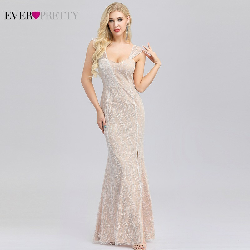 Elegant Sparkle Evening Dresses Long Ever Pretty EP00975CR V Neck Side Split Cream Formal Party Gowns Sexy Mermaid Dresses Abiye in Evening Dresses from Weddings Events