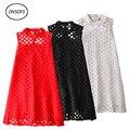Подростков Женщины Dress летом новый стиль Женщины без рукавов выдалбливают кружева принцесса dress для подростков dress свадьба S-XXL