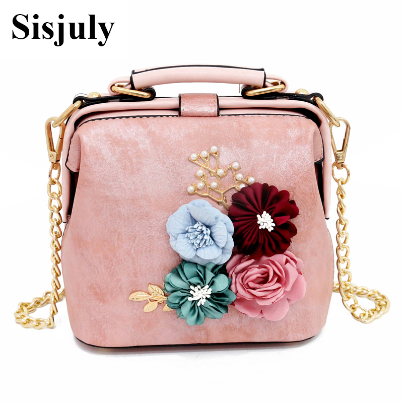 Sisjuly Flowers Leather Women Bag Small Chains Shoulder Bags Female Handbags Ladies Messenger Bag For Girls Hand Bag Woman Tote japanese pouch small hand carry green canvas heat preservation lunch box bag for men and women shopping mama bag