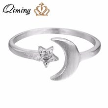 QIMING Real Silver Moon and Star Rings for Women Adjustable Wedding Rings Sterling Silver Jewelry Fashion Best Friends Gift(Hong Kong,China)