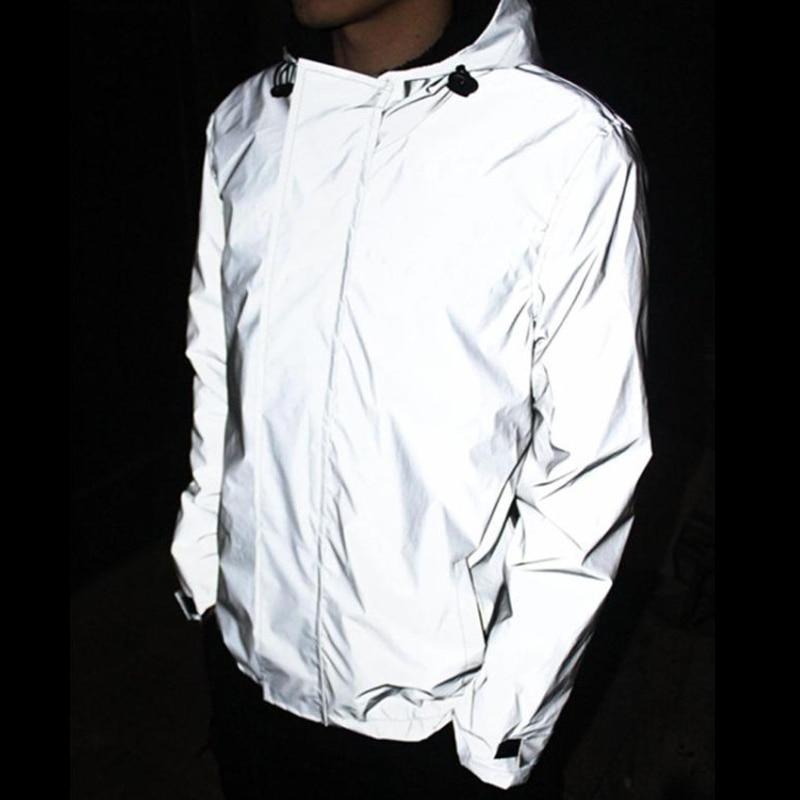 brand autumn winter night hiphop men clothes 3m reflective