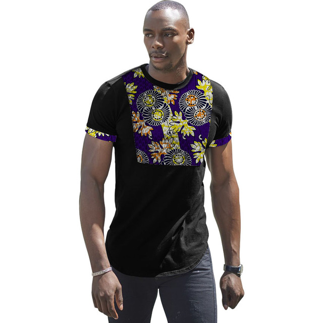 4776b42c687b Fashion African Style Men Clothing Ankara Clothes African Print Tops Short  Sleeve Dashiki print+Black Cotton patchwork Tshirt