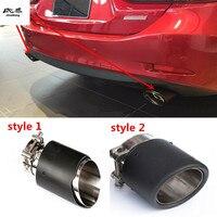 1pc Carbon fiber car exhaust pipe tail throat decoration cover For HYUNDAI Solaris Verna ix35 Creta Sonata Elantra Tucson