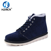 HZHICN 2016 New Brand Men's Work Ankle Shoes Leather Lace-up Round Toe Shoes Man Flats High-Top Comfortable Simple Style Shoes
