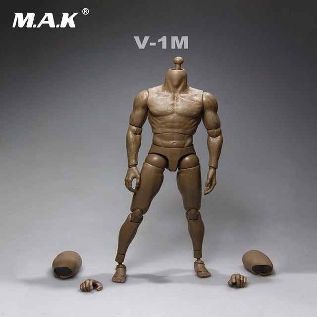 16 Scale Nude Muscular Male Body Action Figure Without Head Sculpt