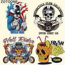 ZOTOONE Heat Transfer Patches for Clothing Pineapple Skull Motorcycle Punk DIY Stripes Custom Patch Stickers Applique E