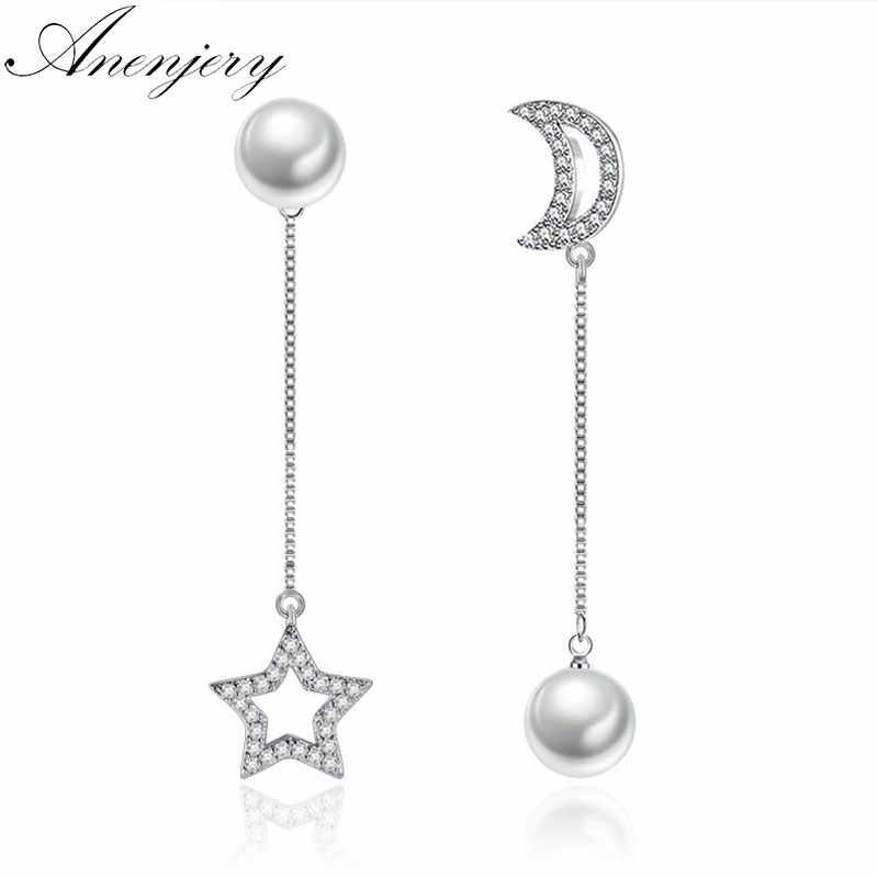 ANENJERY Argento di Colore Asimmetrico Luna Star Orecchini di Zircon Della Perla Orecchini A Catena Lunga S-E253