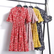 2018 Summer Autumn Chiffon Print Dress Casual Cute Women floral Long Bowknot Dresses Sleeve Vestido