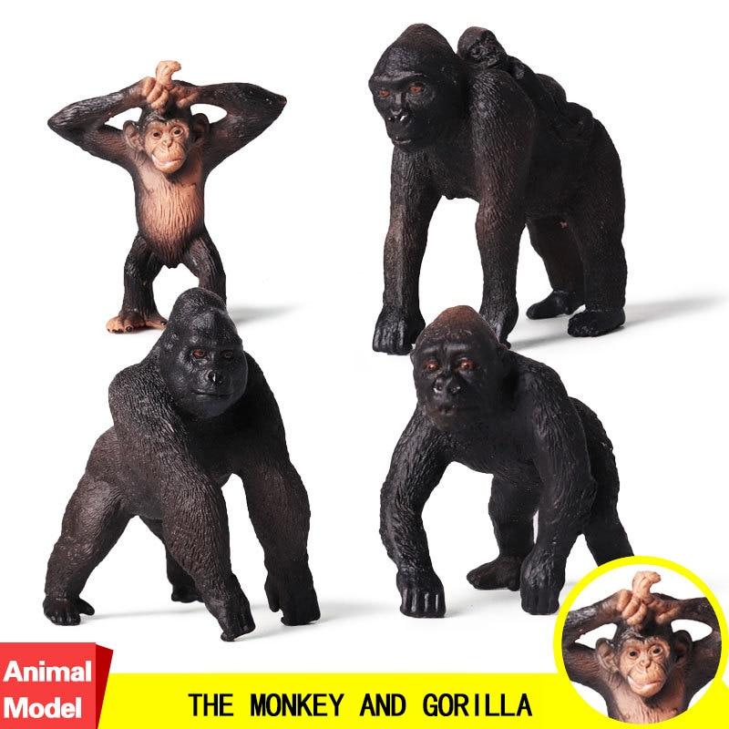 Model-Collectible Gorilla Wildlife-Animal Figure S for Kid Children Gift Monkey PVC Action--Toy