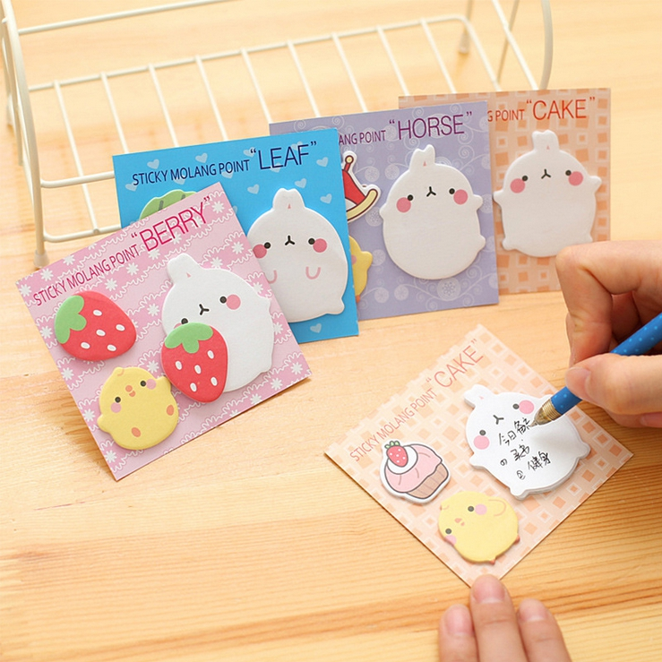 2017 Hot Cute Animal Kawaii Molang Rabbit Flower Friut Sticky Memo Pad Sticky Notes Bookmark School Stationery Papeleria star shaped sticky notes