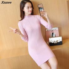 26 new winter in the long sleeve wool elastic knit Turtleneck Shirt Dress semi solid F1395 Xnxee