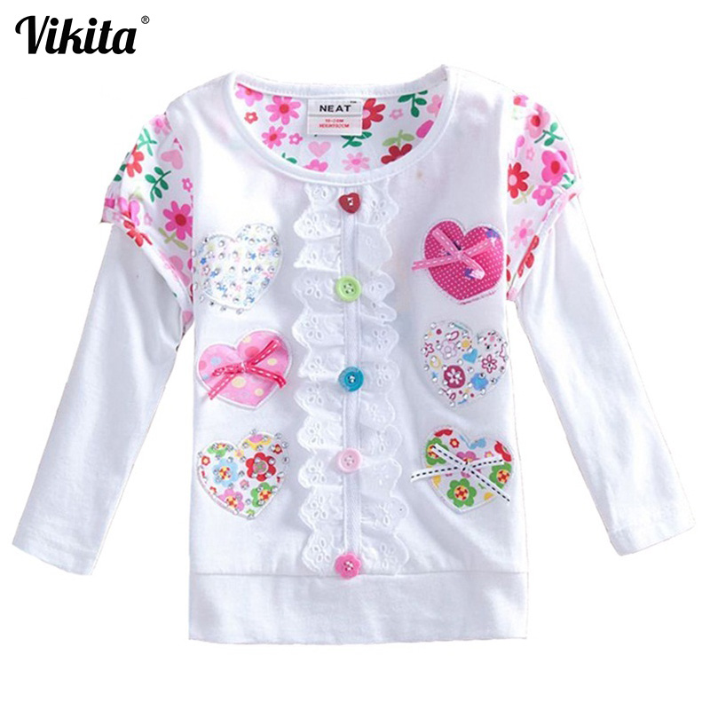 VIKITA T-shirt in Girls Hosszú ujjú póló Baby T-Shirt Gyermekruházat Wear Tops Cartoon Princess T-shirt for Kids L339 MIX