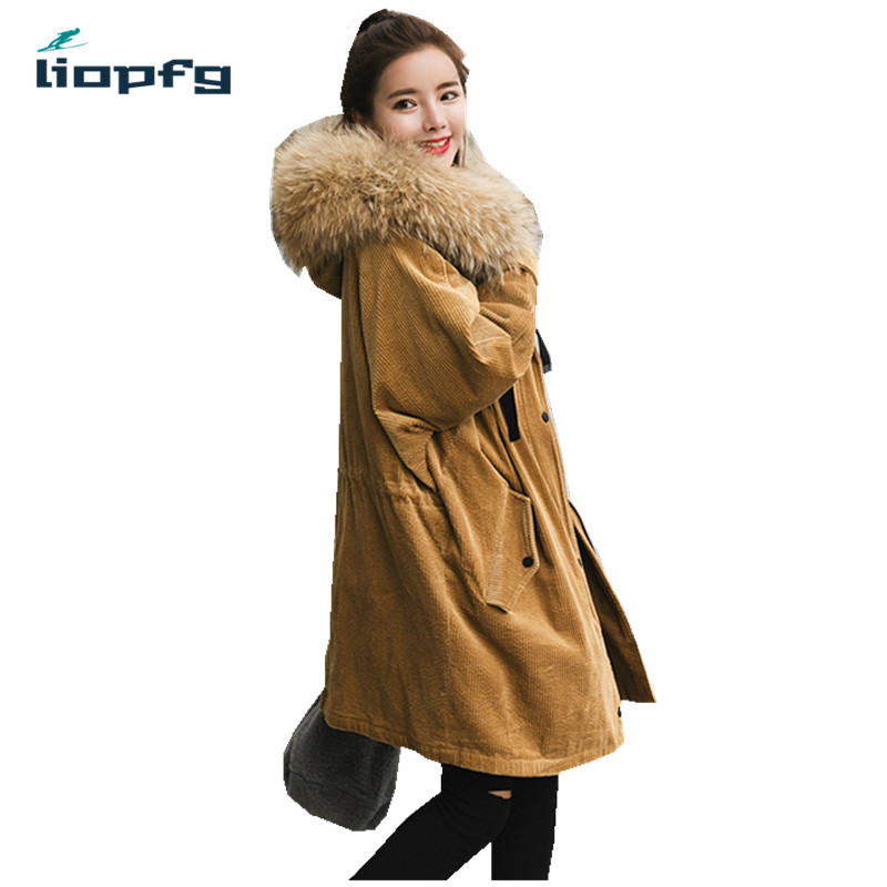 2017 New Large size winter warm clothes for women in thicking corduroy long loose cotton coat with huge Racoon fur collar.WM490 цены