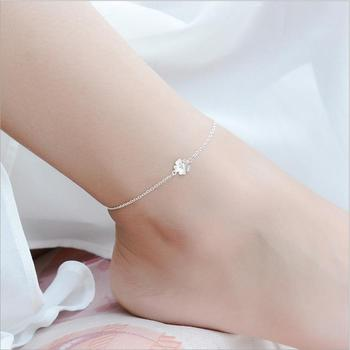 LUKENI Lovely Cherry Blossoms Female Anklets Jewelry Girl Fashion 925 Sterling Silver Bracelets For Women Birthday Accessories