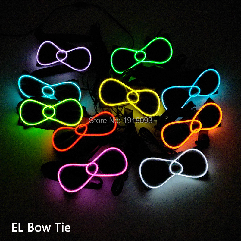 New Type EL Wire Bow Tie 10 color Select Sound activated Controller Neon Light up Bow Tie for Holiday Lighting Decoration