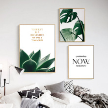 Inspirational Quotes And Tropical Plants Wall Paintings