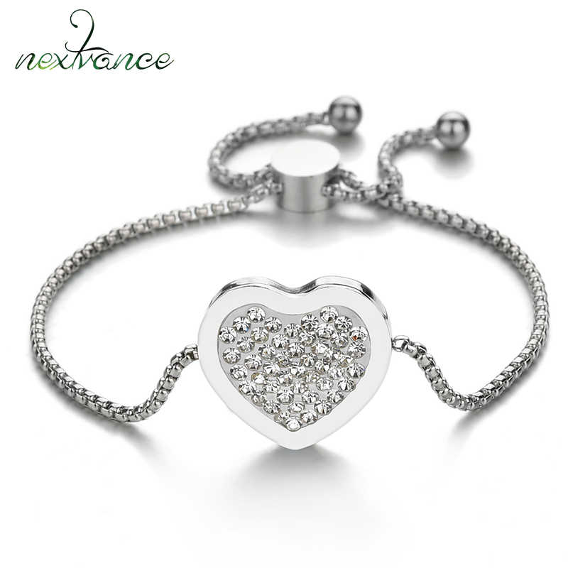 Nextvance  Adjustable Tree of Life Heart Bracelets Stainless Steel For Women Crystal CZ Bracelet & Bangles Wedding Jewelry