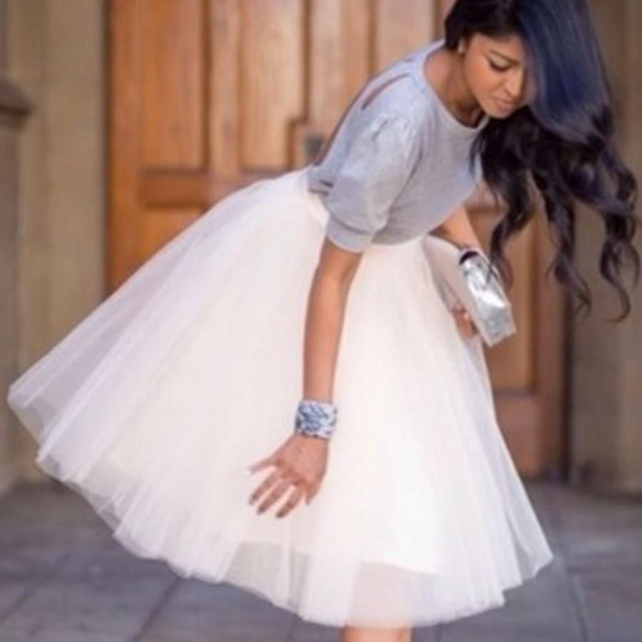 White tulle knee length bridesmaid dress short tutu dress semi white tulle knee length bridesmaid dress short tutu dress semi formal dress for maid of honor dresses custom color size in bridesmaid dresses from weddings ombrellifo Choice Image