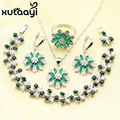 Green Imitated Emerald Necklace Pendant Bracelets Earrings Rings Classy Silver Color Jewelry Sets For Women Christmas Gift
