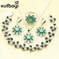 Imitado verde Esmeralda Colar Pingente Pulseiras Brincos Anéis Conjuntos de Jóias de Cor Prata Elegante Para Presente de Natal Mulheres