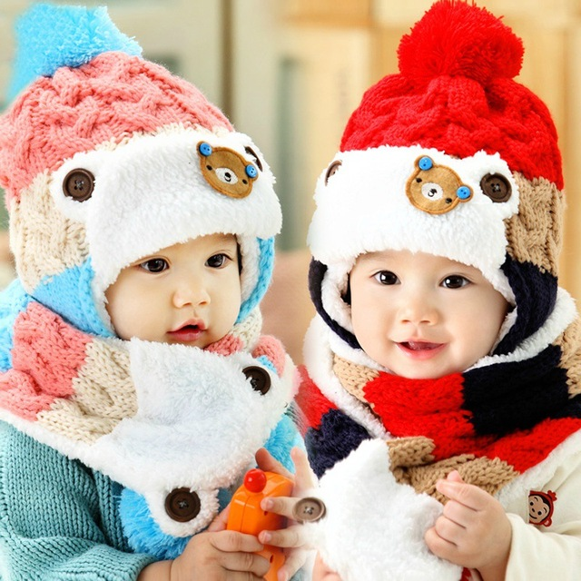 13f5a759a New autumn and winter infants children hat scarf two piece baby ...