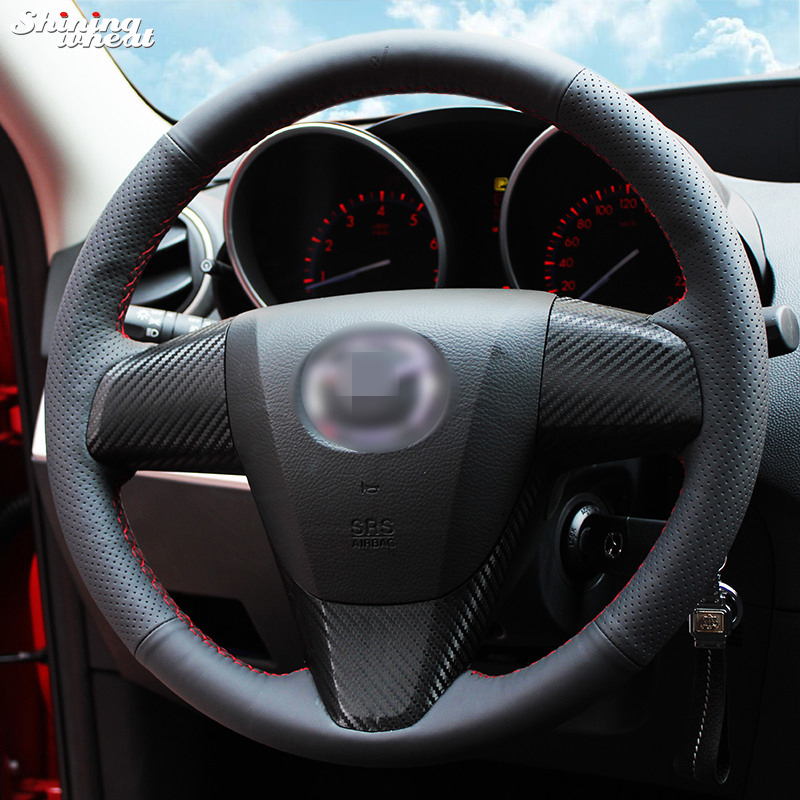 Shining Wheat Hand-stitched Black Leather Steering Wheel Cover For 2011-2013 Mazda 3 Mazda CX7