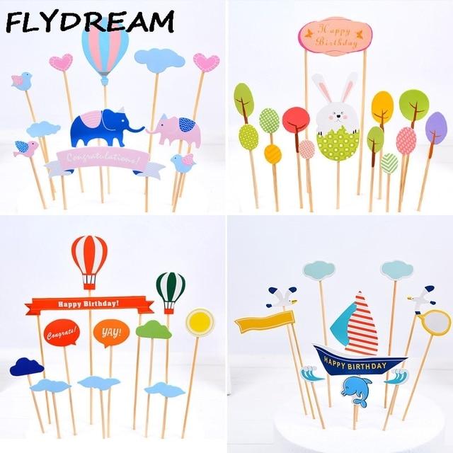 Flydream New Birthday Cake Baking Decoration Flags Diy Girlrabbit