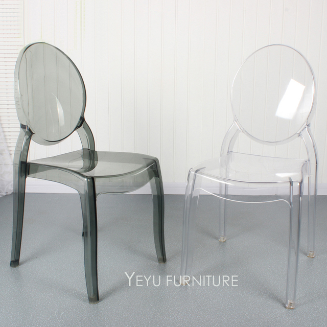 Modern Design Stackable Transparent Clear Polycarbonate Acrylic Dining Chair,  Fashion Design Crystal Clear Stack Cafe