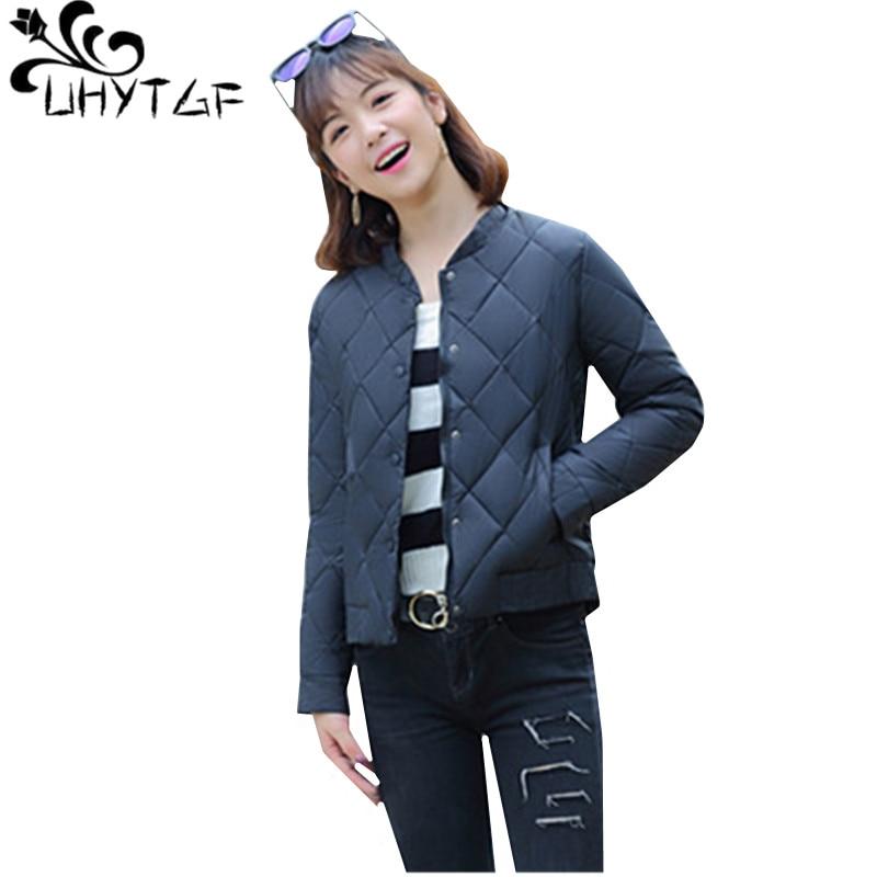 UHYTGF New Winter Jacket Women Plus Size Thin Down Cotton Jacket Women   Parka   Coats Short Female Slim Cotton padded basic top 605