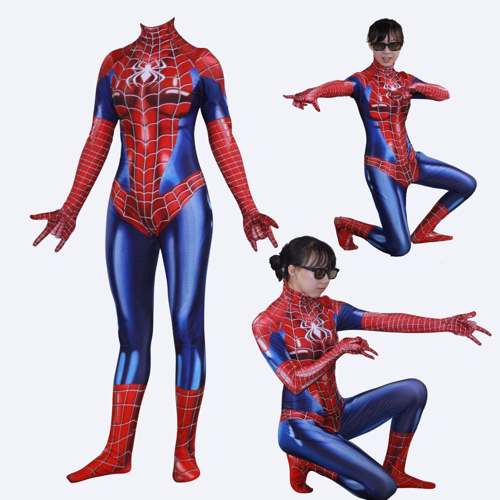 Adult Marvel comics superior Spider Man spider woman superhero cosplay bodysuit costume Halloween Costume for Women JQ-1355