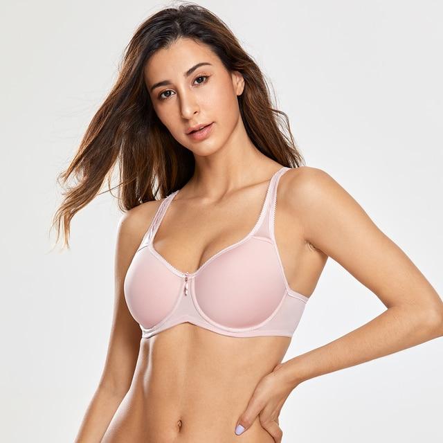 Full Coverage Underwire Lightly Padded Seamless Bra for Women Basic Minimizer T-shirt Plus Size