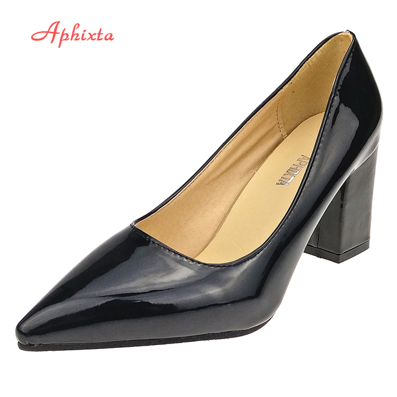 все цены на Aphixta Shoes Women Pointed Toe Pumps Sapato feminino 7.5cm High Square Heels Patent Leather Fashion Work Black Party Shoes онлайн