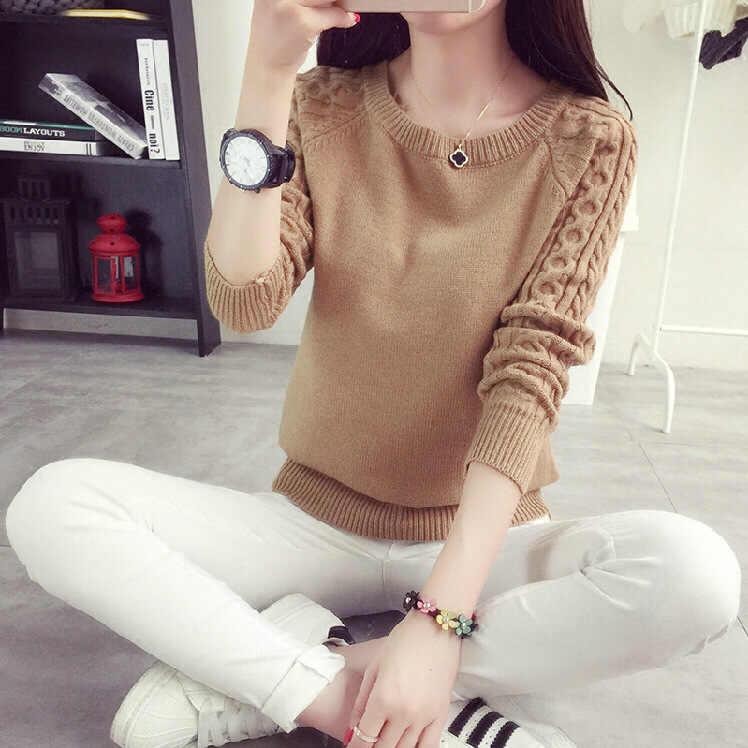 2019 pullover Frauen Pullover Twist muster o Hals Einfarbig Herbst Winter Koreanischen frauen Pullover Und Pullover Vestidos LXJ433