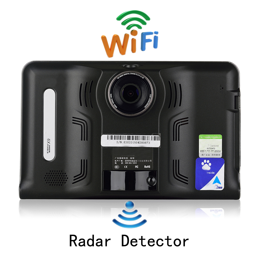 Udricare 7 inch GPS Android GPS Navigation DVR Radar Detector 16GB Disk AVIN support Rear View Camera WiFi Tablet Google Play